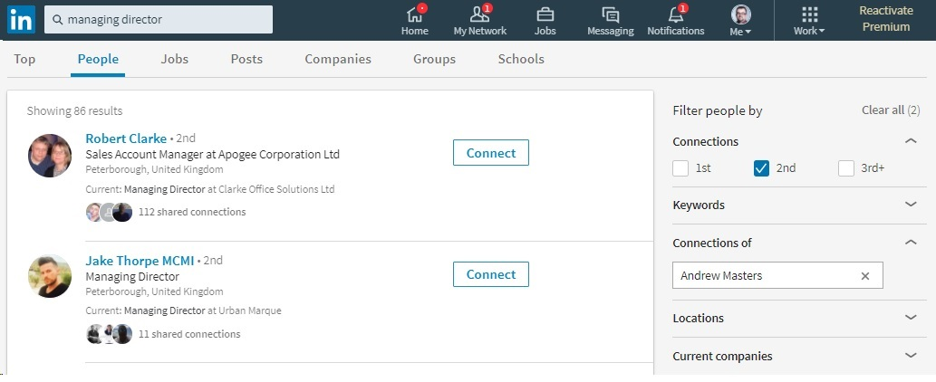 LinkedIn Search Functionality Connections Of