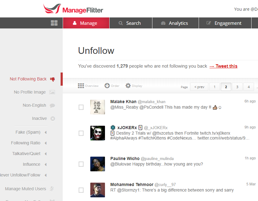Manageflitter Social Media Management